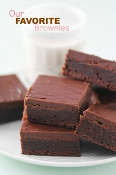 My Favorite Brownies -- I've been making this recipe for forever! They are dense, chewy, fudgy, with the perfect layer of fudge frosting on top!