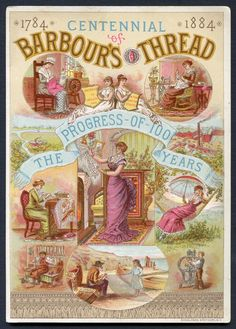 Union-Made: 1884 Barbours Thread Trade Card with Freeman Overalls ad on back Vintage Sewing Rooms, Vintage Sewing Notions, My Sewing Room, Vintage Sewing Machines, Vintage Sewing Patterns, Vintage Labels, Vintage Cards, Vintage Images, Printable Vintage