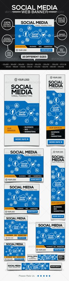 Social Media Marketing Company Web Banners Template PSD | Buy and Download: http://graphicriver.net/item/social-media-marketing-company-banners/7801162?WT.ac=category_thumb&WT.z_author=BannerDesignCo&ref=ksioks