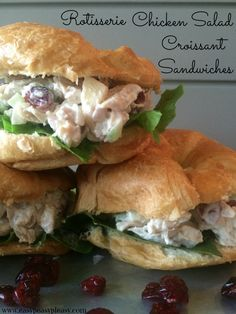 Rotisserie Chicken Salad Croissant Sandwiches Most of you know that I have been spending a ton of time helping my mom with her new house. During this process she has been feeding me on the regular. I told mom, that I was gonna have to go home … Croissant Sandwich, Chicken Salad Croissant, Chicken Salad Sandwiches, Appetizer Sandwiches, Appetizers, Rotisserie Chicken Salad, Chicken Salad Recipes, Healthy Salad Recipes, Salad Chicken