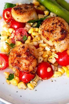 Seared Garlic Scallops with Corn Tomato Relish