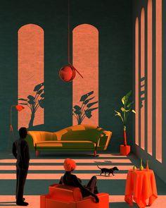 Retro-futuristic Illustrations by Tishk Barzanji – Trendland: Trends, Art, Design & Lifestyle Retro Kunst, Retro Art, Retro Color, Illustrator, Modelos 3d, Retro Futuristic, Grafik Design, Oeuvre D'art, Digital Illustration