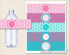 Printable Party Water Bottle Labels Turquoise and Hot Pink Damask Chic. $8.00, via Etsy.