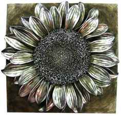 Silver Sunflower Flower Head Sculpture Wall Art Hanging Home Decor 3d Wall Art, Hanging Wall Art, Home Decor Sale, Living Room Accessories, Silver Horse, Sunflower Flower, Wall Plaques, Wall Tapestry, Wall Decor