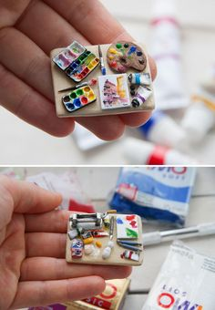 """sosuperawesome: """" Miniatures - including Art Tools, Piano, Pizza, Bakery Diorama and Scale Furnished House - by Even Tinier on Etsy See our 'miniatures' tag """" Cute Polymer Clay, Cute Clay, Polymer Clay Crafts, Diy Clay, Miniature Crafts, Miniature Food, Doll Crafts, Cute Crafts, Diy Doll Miniatures"""