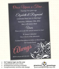 Vow Renewal Invitation, Classy, Always, invite, Digital, Printable W1425