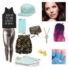 """Having FUN !!!!"" by bookwormcrazy ❤ liked on Polyvore featuring LE3NO, Uncommon, Converse, Maybelline, The Giving Keys and BKE"