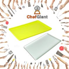 "ChefGiant 18"" x 26"" Plastic Tray Yellow, Set of 4  #ChefGiant #KitchenAccessories #Cookware #PlasticTray"
