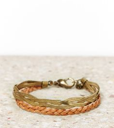 AEO Braided Brass and Leather Bracelet