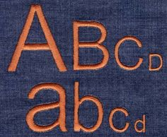 """Arial Satin Font comes in 0.5"""", 1"""", 1.5"""" and 2""""; height is based on the capital """"A"""" and all other characters are sized proportionally. All sizes are included in purchase price and are finished in standard satin stitch. Includes uppercase letters, lowercas"""