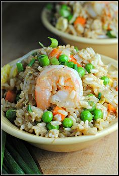 SHRIMP FRIED RICE - used edamame instead of peas and regular onion instead of green. Also added an extra egg and more soy sauce