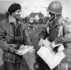 In spite of his deep reservations about Lieutenant General Frederick Browning - seen here on the left - Brigadier General James Gavin worked hard to develop a good relationship with him. Here the two men are pictured near Groesbeek shortly after XXX Corps Operation Market Garden, 82nd Airborne Division, Lieutenant General, Ww2 Pictures, My War, Army & Navy, Best Relationship, Military History, World War Ii