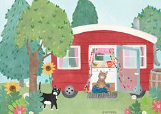 Illustration   a tiny house in the woods