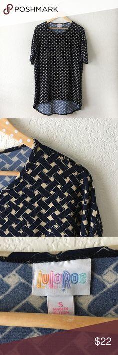 LuLaRoe Irma - Navy/Tan Basket Weave Pattern Excellent condition! Dark Navy/Tan basket weave pattern. Silky fabric. LuLaRoe Tops Tunics