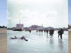 A composite image shows troops from the 3rd Canadian Infantry Division landing at Juno Beach on D-Day in Bernieres-sur-Mere.