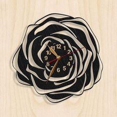 Wall Clock, Flower, Ornament, Rose Wooden Black Wall Art Decor, Wood Clock 12inch(30cm), Modern, Home decor, Gift Idea