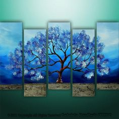 Wish | CUSTOM PAINTING Abstract Modern Landscape Tree Asian Art by Gabriela 50x30 Large, texture, blue