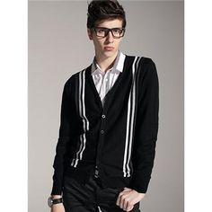 Simple Jacquard Striped Sweater Cardigan  $26.99