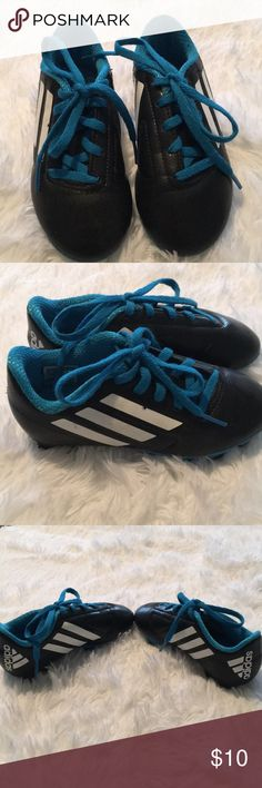 Adidas Childs Soccer Cleats Pair of Size 11K Adidas Kids Soccer Cleats. Black, Teal and White. Excellent condition. adidas Shoes