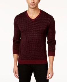 Alfani Men's Geometric V-Neck Sweater, Created for Macy's - Black 2XL