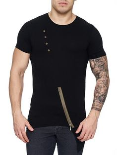 K&D Men Asymmetrical Zipper Long T-shirt - Black