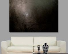 Forever - Black Modern Painting in Decor contemporary living room