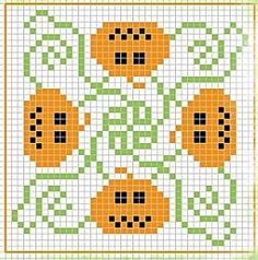 Jack'o'lantern Halloween  cross stitch chart