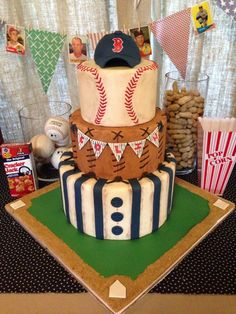 Make the top layer to look like a baseball not round tier probably skip the hat Baby Shower - Vintage baseball themed baby shower cake. Baby Shower Cakes, Baby Shower Themes, Baby Boy Shower, Baseball Themed Baby Shower, Shower Ideas, Wedding Shower Cakes, Baseball Birthday Party, Boy Birthday, Birthday Ideas