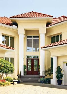 mediterranean home exterior colors red tile roof - Google Search
