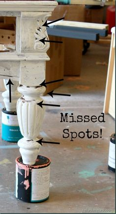 Painting Furniture Tips & Tricks (Turn it Over) ~ start with the underside and use props to put under the piece you are painting!