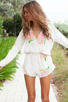 long sleeve romper - cute for a hot summer day