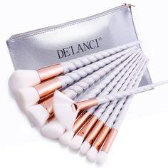 DE'LANCI 10PCS Makeup Brushes Gradient color Spiral Handle Cosmetics Make up Tools Powder Contour Foundation Eyeshadow Brush Set