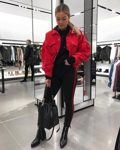 Cute red and black casual outfit. Fashion Killa, Look Fashion, Paris Fashion, Fashion Outfits, Womens Fashion, Street Fashion, Athleisure Fashion, Athleisure Outfits, Winter Outfits