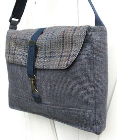 Reduced - save 30%: Messenger / laptop bag - 13 inch heather blue and brown plaid wool made from recycled men's suit coats. $76.00, via Etsy.