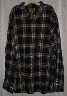 The Foundry Supply Co 4XL Flannel Plaid Big Mens Shirt Black Red Long Sleeve  #TheFoundrySupplyCo #ButtonFront
