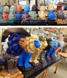 This lions are almost finished!  A few touch-ups and a few coats of spray varnish, and they are ready to go.
