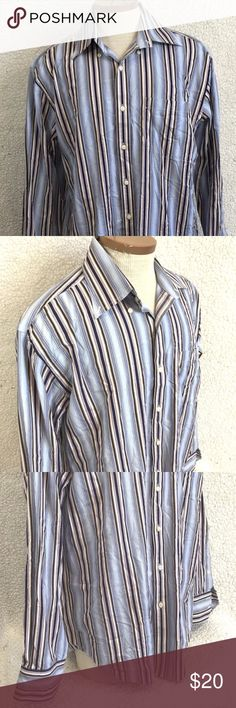 """Vintage Tommy Hilfiger Men's Button Front Shirt TOMMY HILFIGER Men's Button Front Shirt Size Large Long Sleeve Striped Top. No Rips, Stains or holes. Smoke Free Home.  Fabric: 100% Cotton Approximate Measurements:  Length: 30.5"""" inches  Sleeve length: 20"""" inches  Chest (laying Flat underarm to underarm) : 23"""" inches Tommy Hilfiger Shirts Casual Button Down Shirts"""