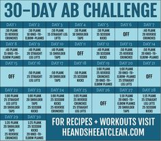 Want to take on a new challenge? Try this Ab Fitness Challenge from He and She Eat Clean. Month Workout Challenge, 30 Day Ab Challenge, Workout Schedule, Workout Routines, Workout Plans, Workout Ideas, Nutrition Education, Fitness Herausforderungen, Fitness Jokes