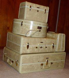 Samsonite Streamlite set in rawhide: overnighter, overnighter vanity, hat box, train case, and hand wardrobe.