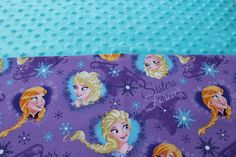 Frozen Elsa and Anna KinderMat Nap Mat Cot Cover Daydreamer with a Turquoise Minky Headrest by YarnkeeDoodle on Etsy