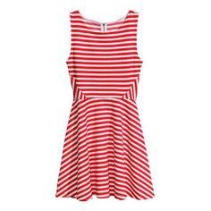 Striped Splicing Scoop Collar Sleeveless Slimming Stylish Women's Sundress, RED, M in Dresses 2014 | DressLily.com