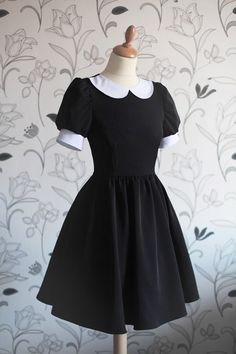 Vintage black dress with cute white collar, Wednesday Addams inspiration