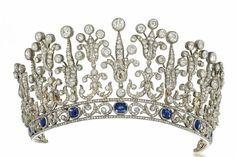 19th century sapphire and diamond tiara/necklace. Circa 1890, Rome