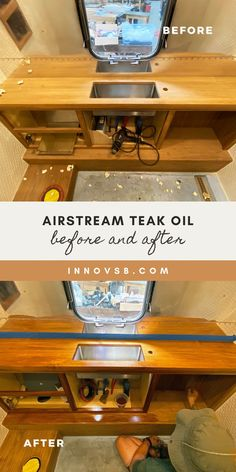 Warming things up with a teak oil finish that we just applied to Airstream Franke's bathroom sink. Airstream Bathroom, Rv Mods, Diy Projects Cans, Diy Rv, Teak Oil, Rv Hacks, Class B, Rv Life, Rv Living