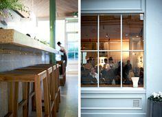 Hooks under bar Granger and Co. Granger And Co, Bill Granger, Notting Hill, Cinder, Commercial Design, Terrazzo, Restaurant Design, Countertop, Hooks