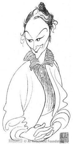 """Al Hirschfeld ~ Rosemary Harris in """"Pack of Lies"""""""