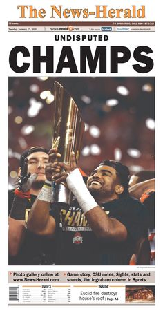 Ohio and Oregon Newspaper Front Pages on Ohio State's National Championship Win Buckeyes Football, College Football Playoff, Ohio State Football, Ohio State University, Ohio State Buckeyes, Buckeye Sports, Football Season, American Football, State Of Oregon