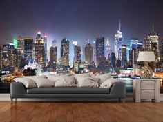 New York - Manhattan Skyline at Night wall mural room setting