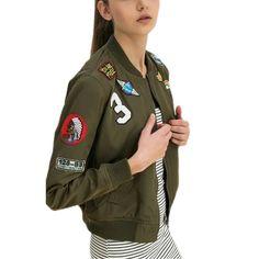 55b27239826 Click to Buy    New Women Coats Army Green Bomber Jackets Female Coat