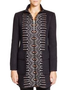 Nanette Lepore Cross-Stitched Coat | Bloomingdale's